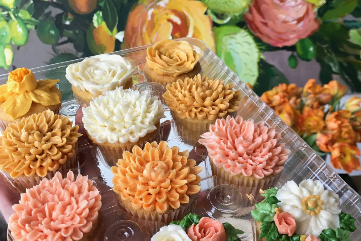 Spring-themed cupcakes