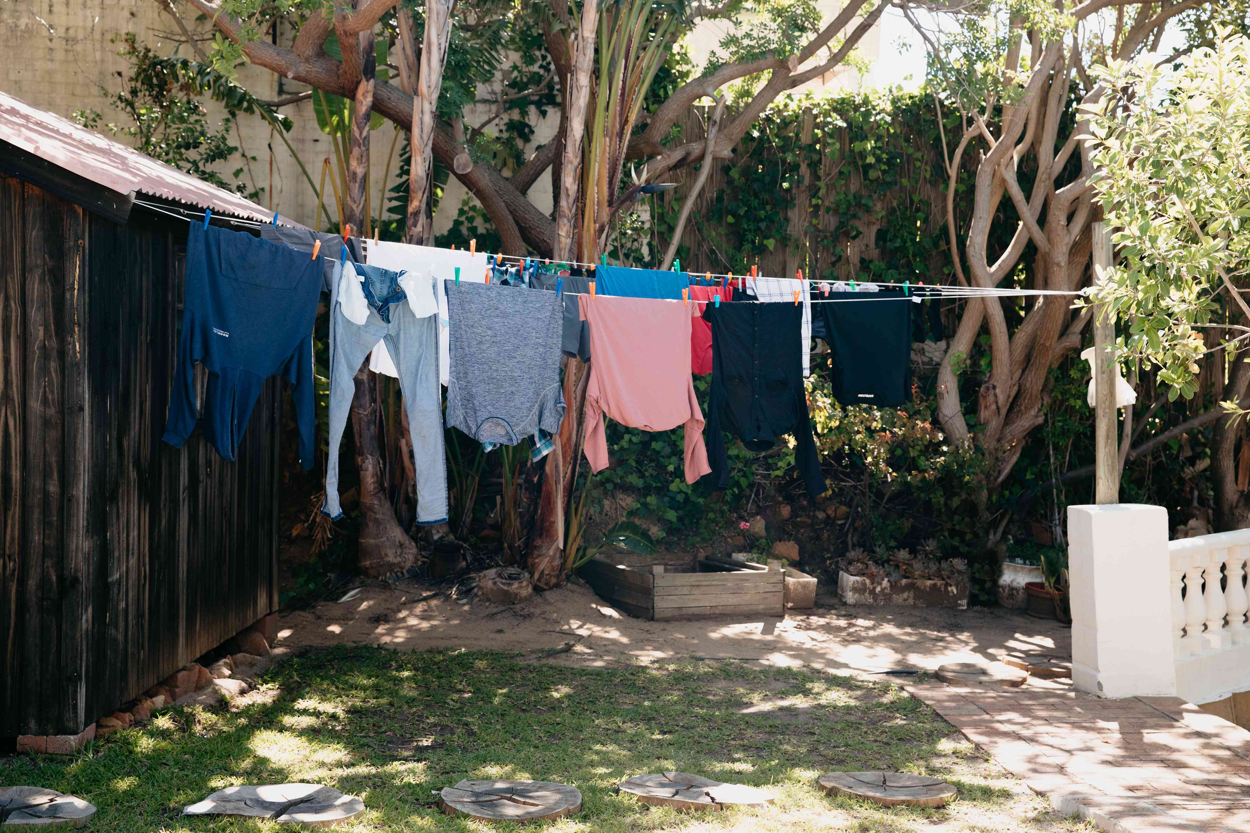 clothes line-drying outside