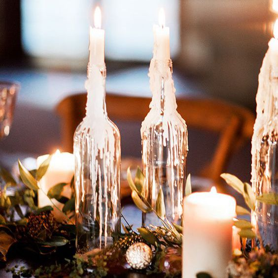 melted candle centerpiece