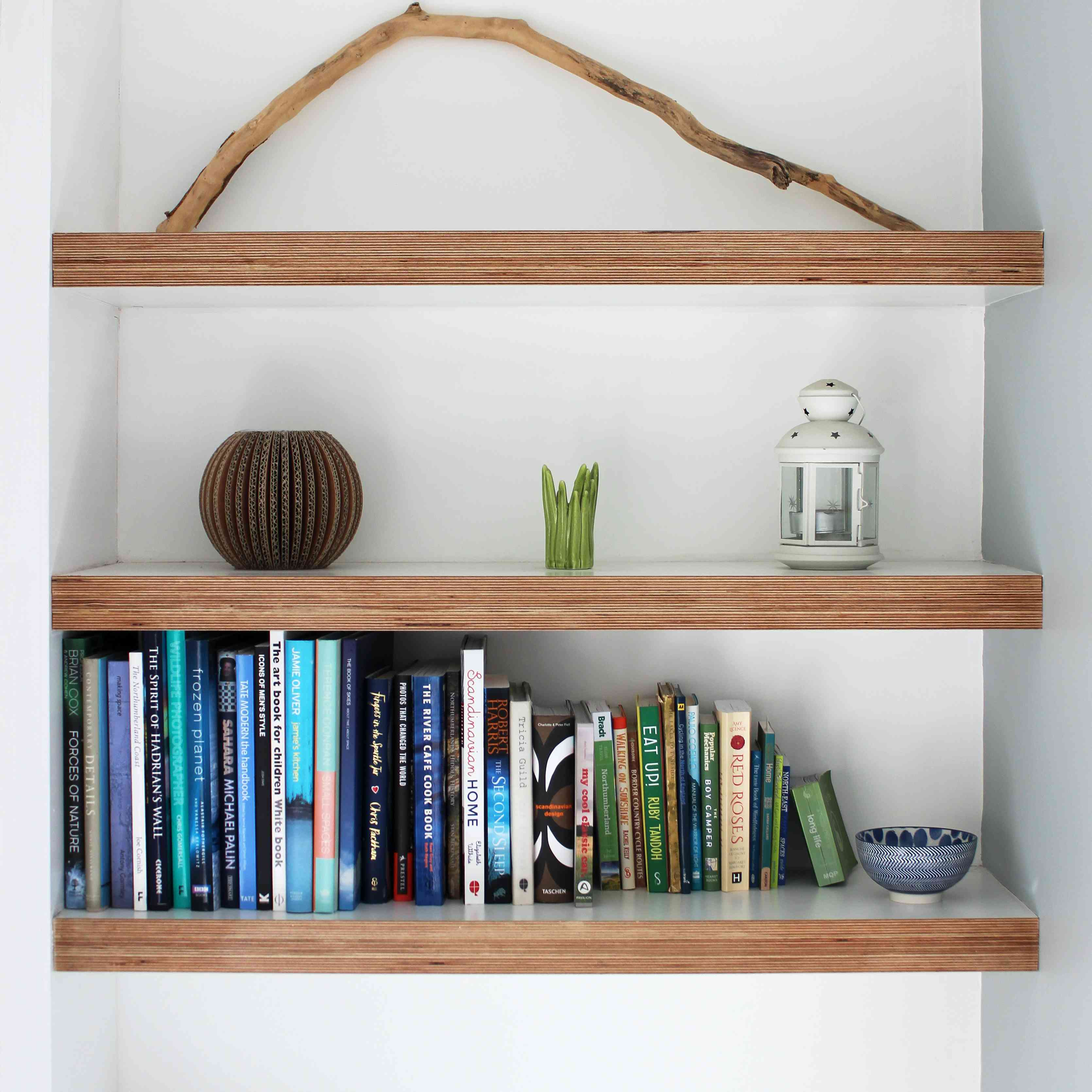 Book shelves in modern living room