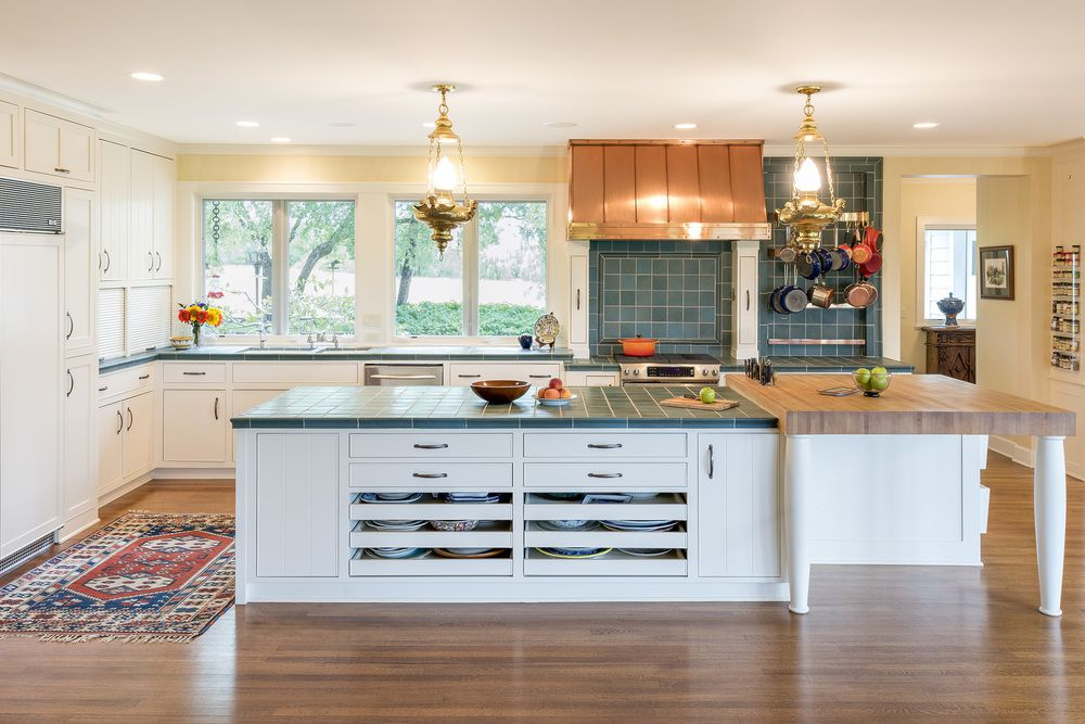 12 Tile Kitchen Countertops That Are, White Kitchen Cabinets With Tile Countertops