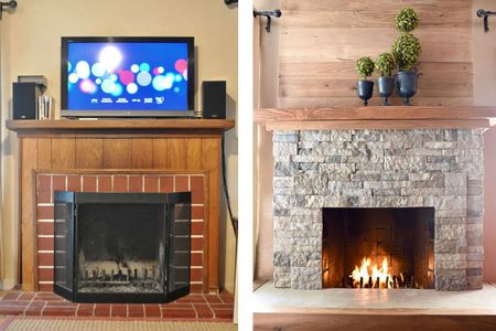 Artificial Stone Tile Fireplace Makeover