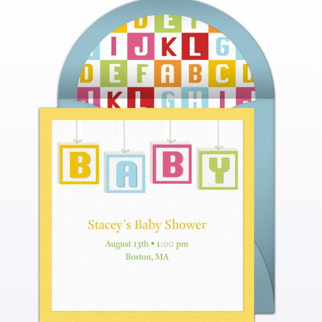 "A card that spells out ""BABY"" in blocks."