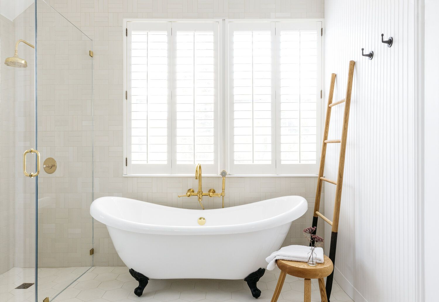 Updated bathroom with shower and clawfoot tub