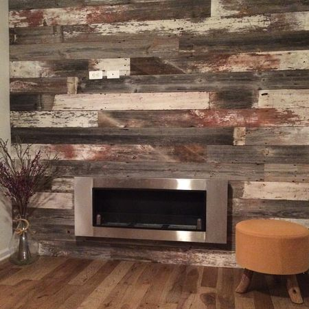 Gas Fireplace With Reclaimed Wood