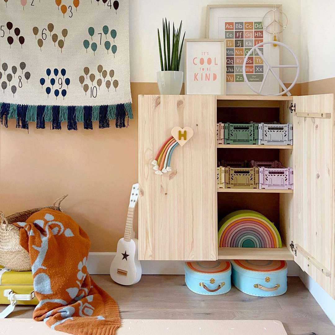 Toy storage in a cabinet