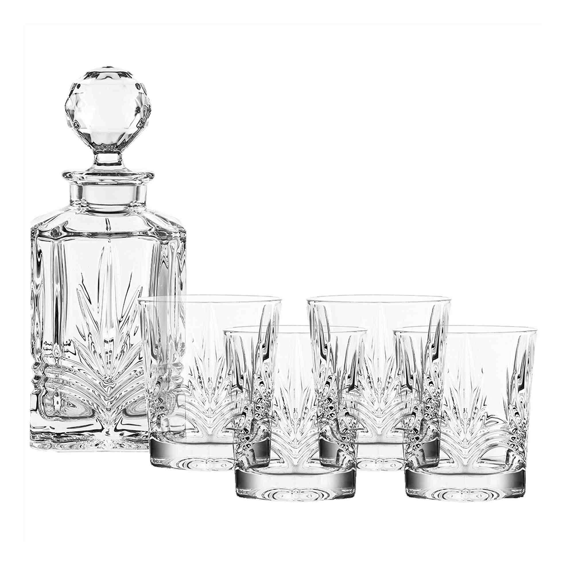Belleek 5-Piece Galway Crystal Kells Decanter Set