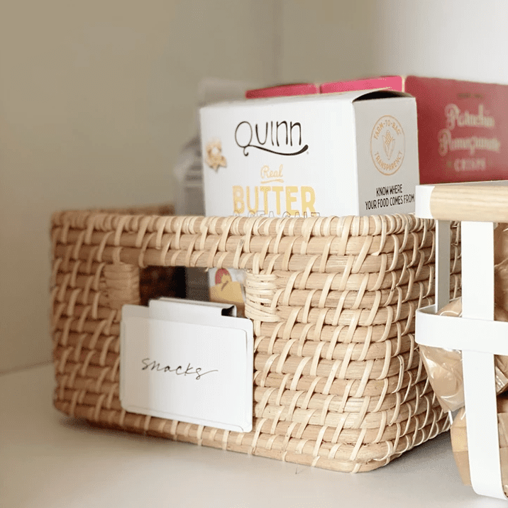 Label clips on baskets