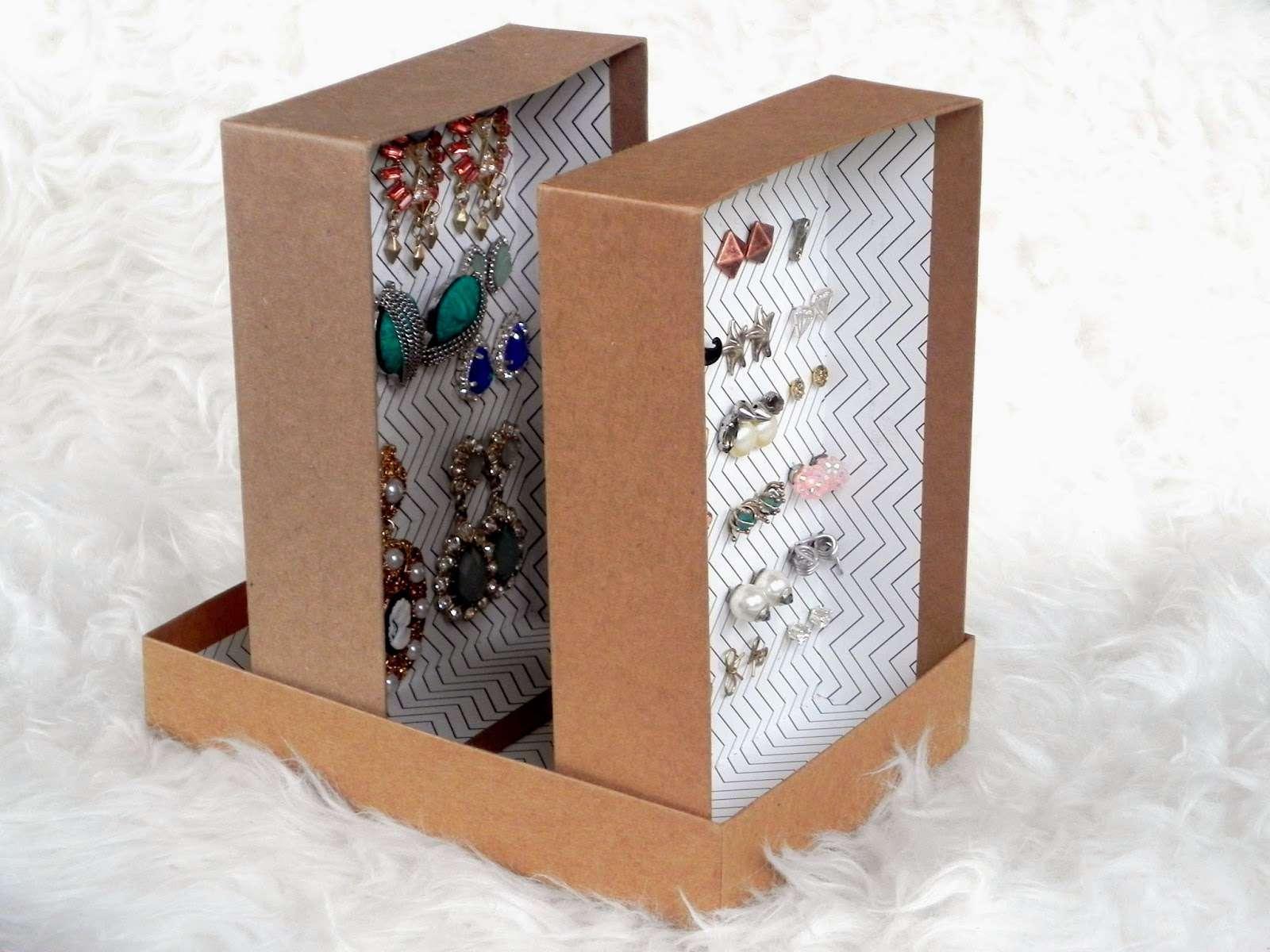 DIY cardboard earring storage