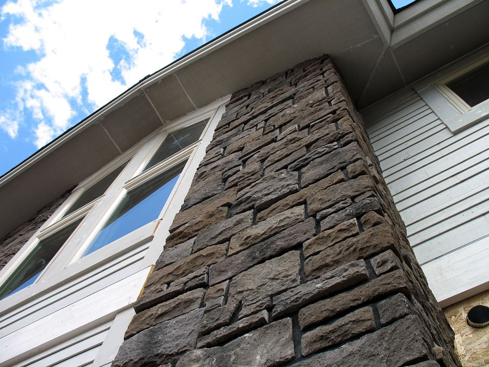Tall Stone Veneer Construction Project