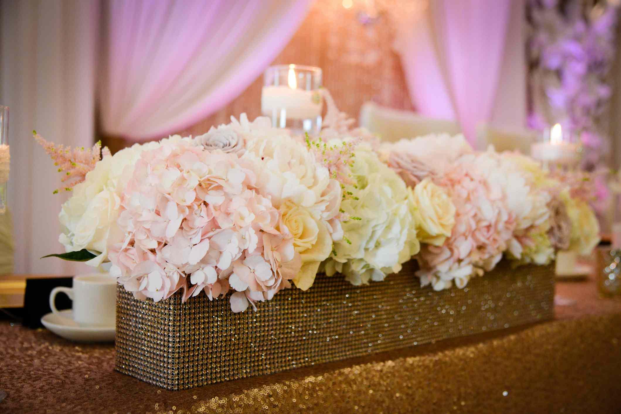 White and Pink Hydrangea centrepiece