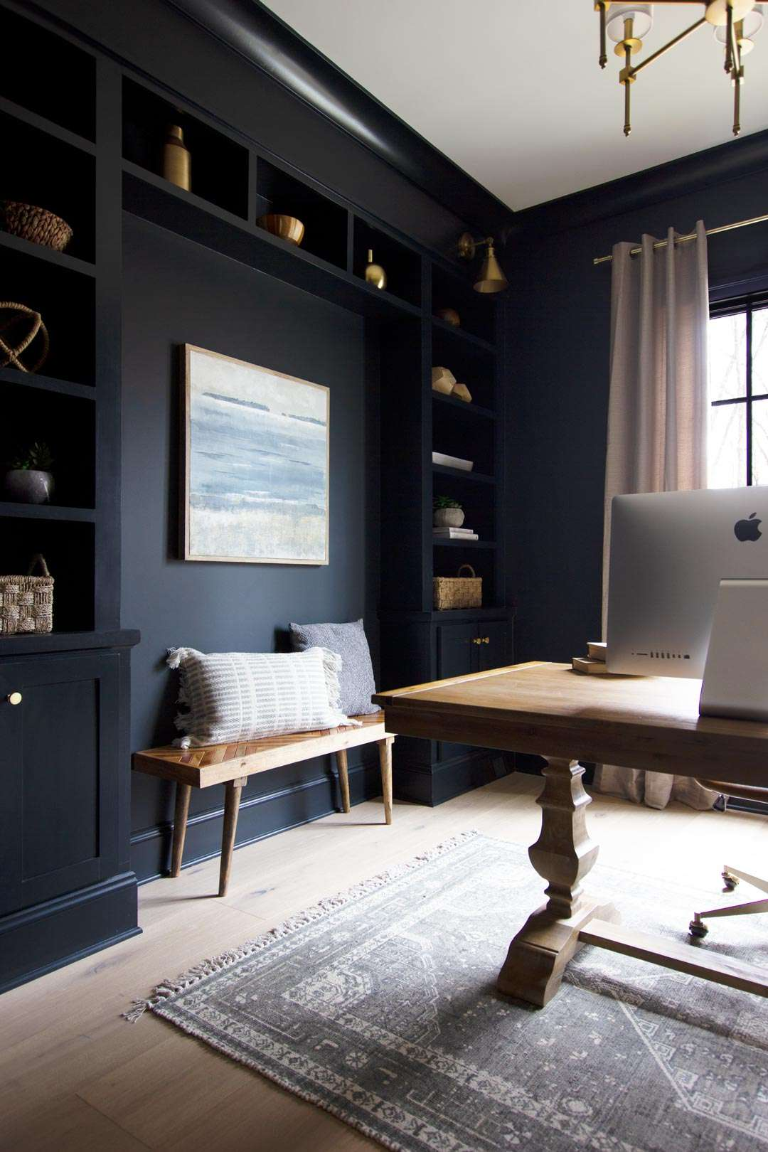 A darkly painted office