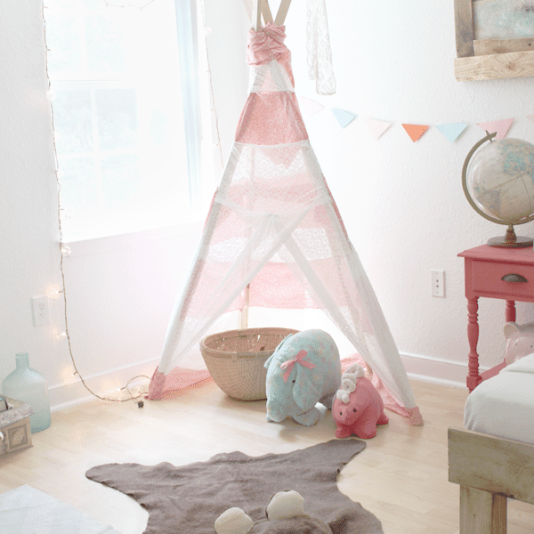 Cute woodland nursery with DIY bearskin rug