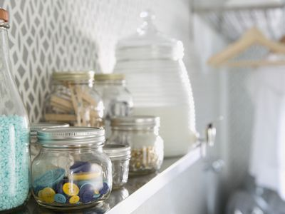 Organizing jars in a laundry room