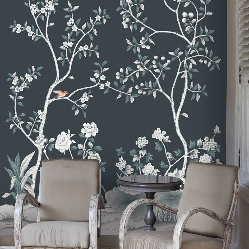 A temporary wallpaper accent wall