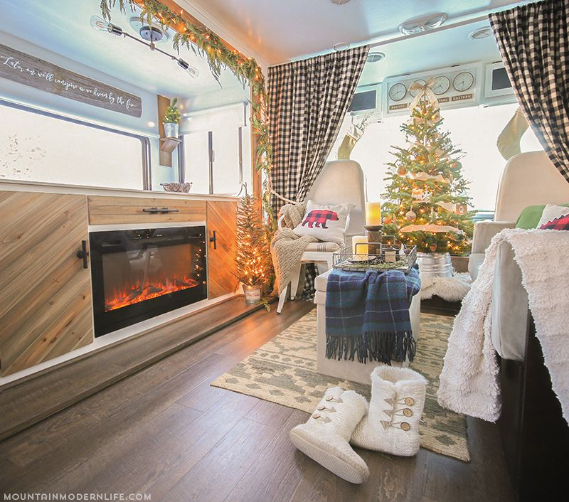 RV living room decked out for christmas