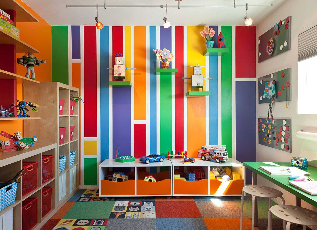 Colorful playroom with storage