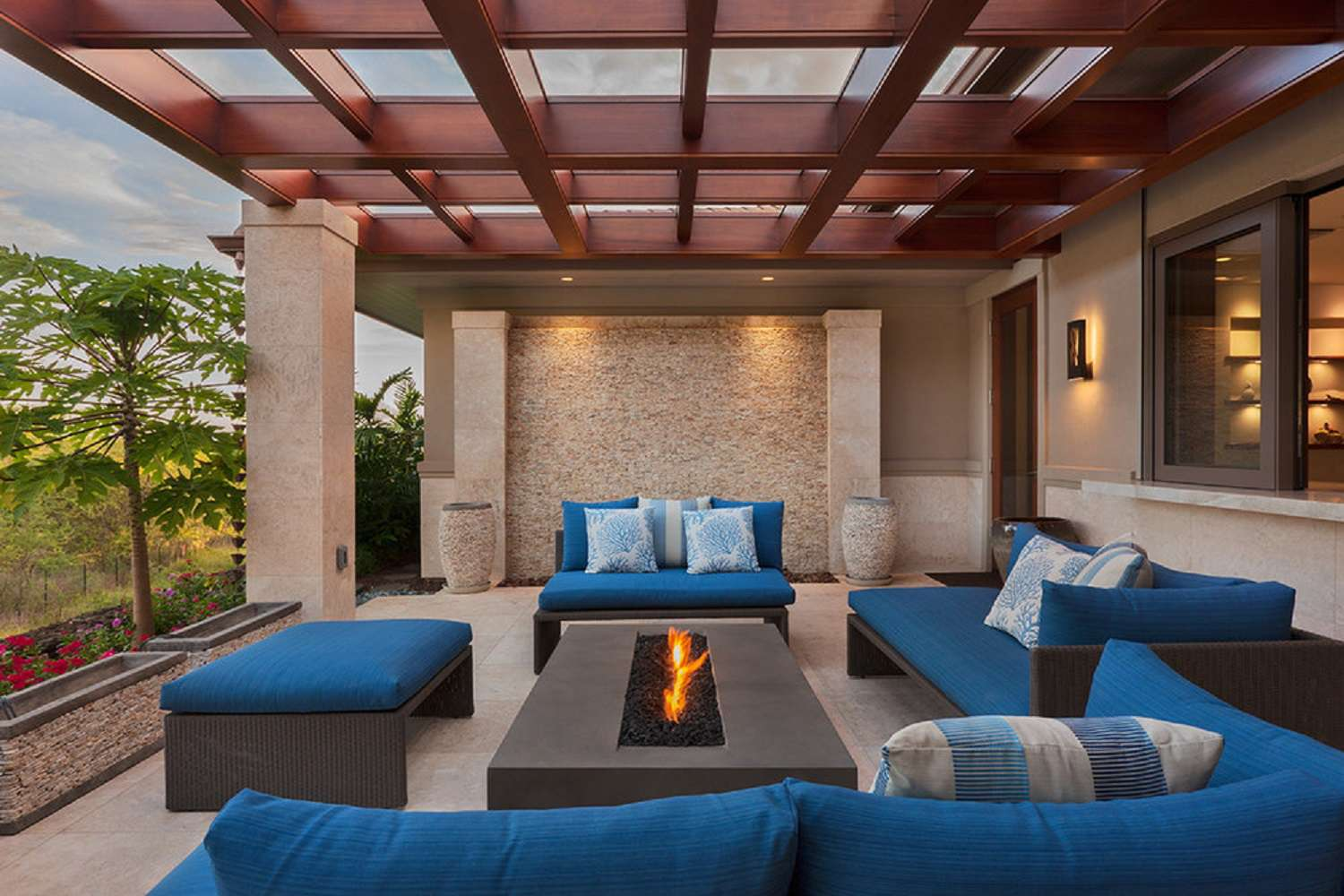 Pergola with outdoor firepit