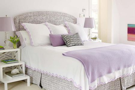Lavender Gray And White Bedroom