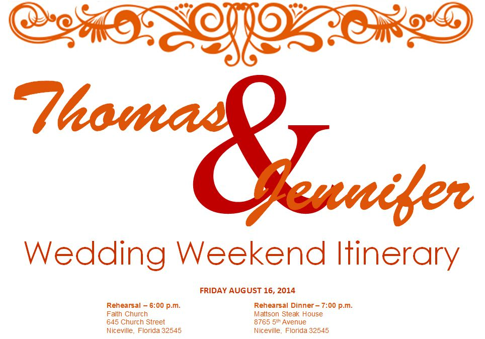 Free wedding itinerary templates and timelines an orange and red wedding weekend itinerary tidy templates maxwellsz