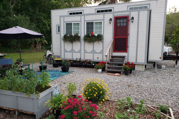 tiny home with garden and green space