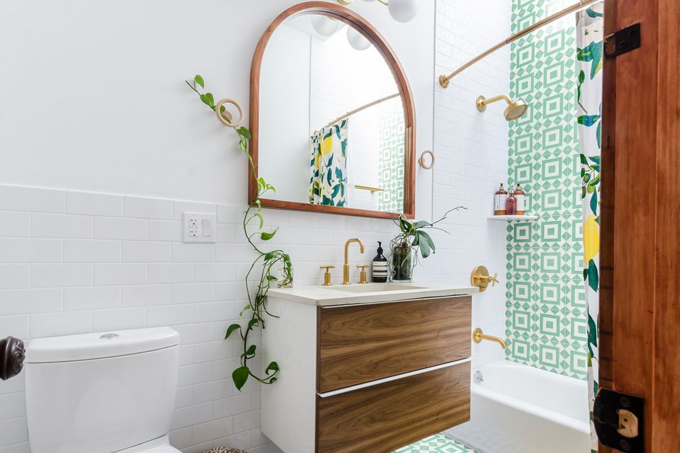 Bathroom in a brown and green color palette