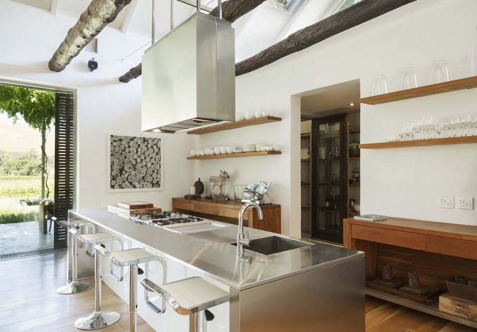 kitchen with metal and wood materials