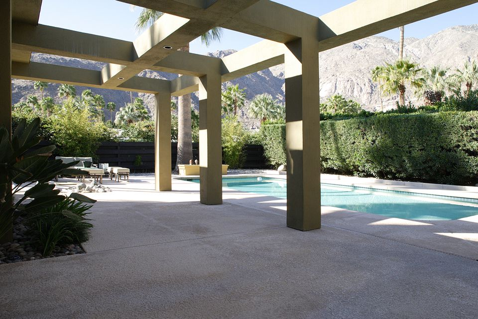 A lavish concrete patio