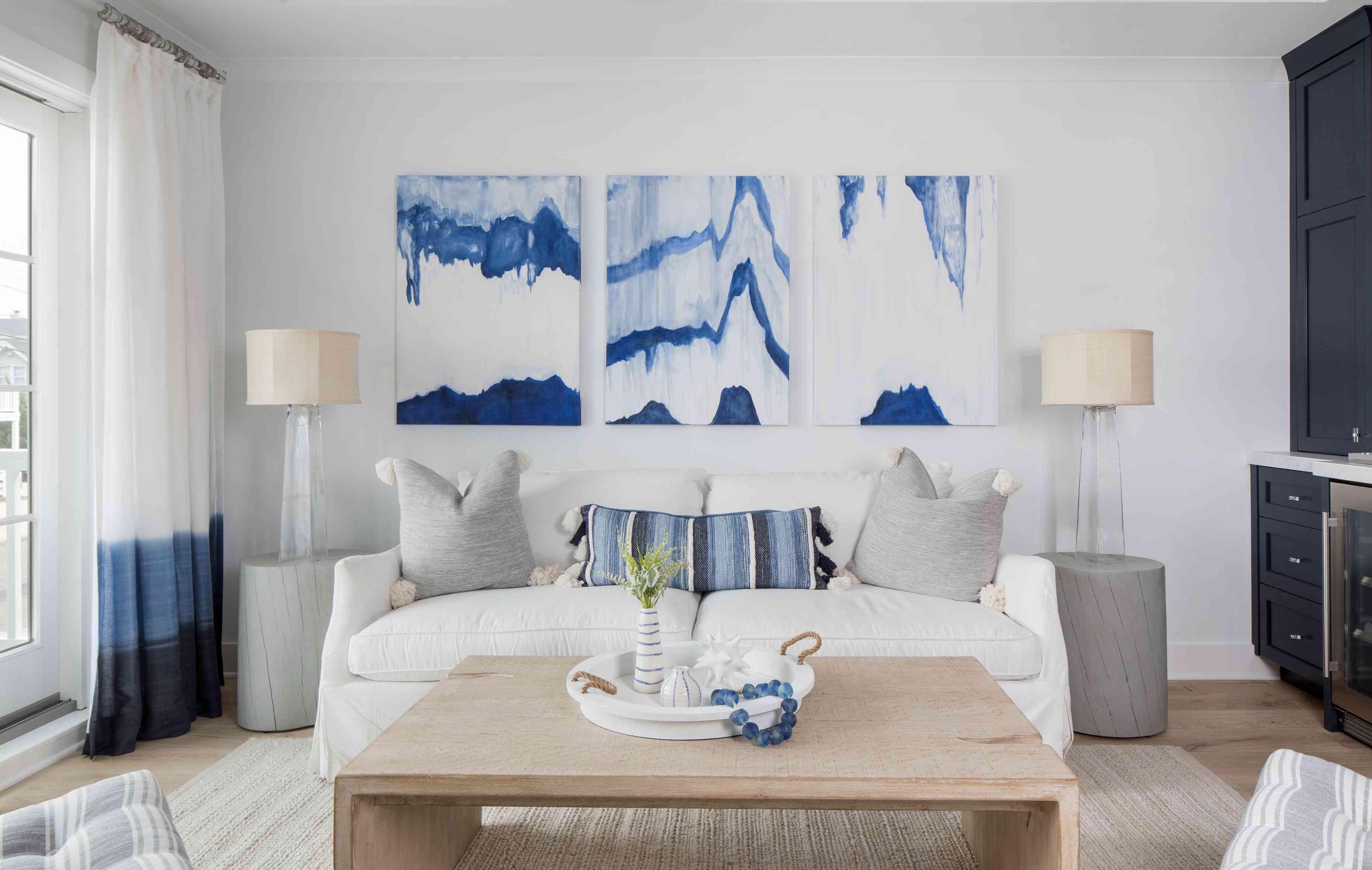 The living room of Karen B. Wolfe's Long Beach Island home