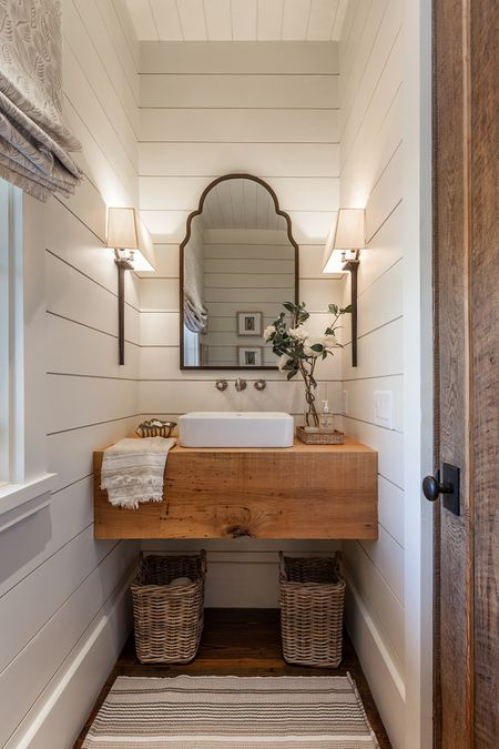 Farmhouse Powder Room With Floating Vanity