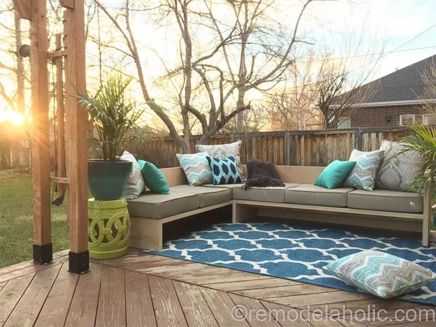 A DIY sectional on a deck