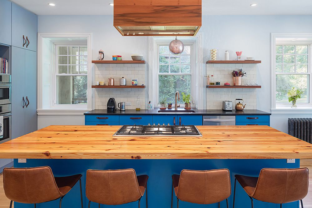 Modern blue kitchen cabinets with open shelving