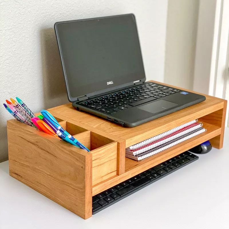 A wooden laptop stand