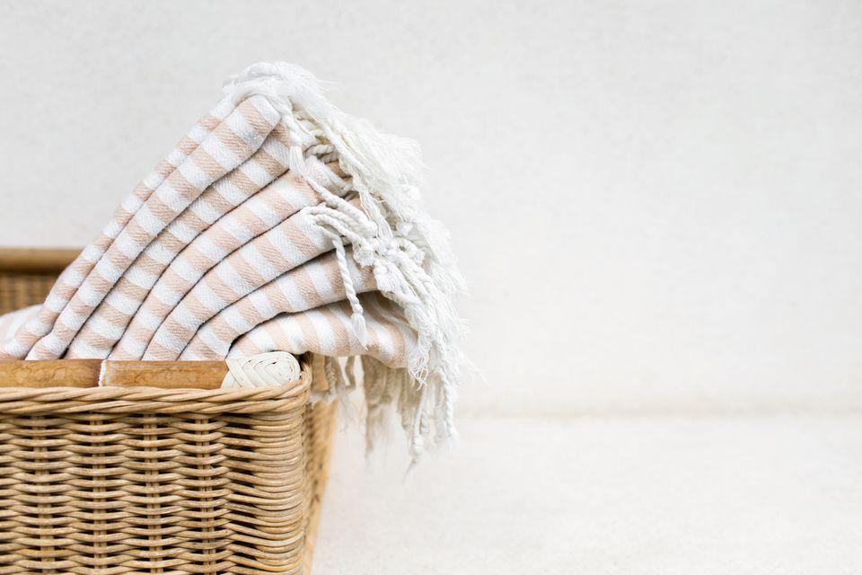 linen towels in a basket