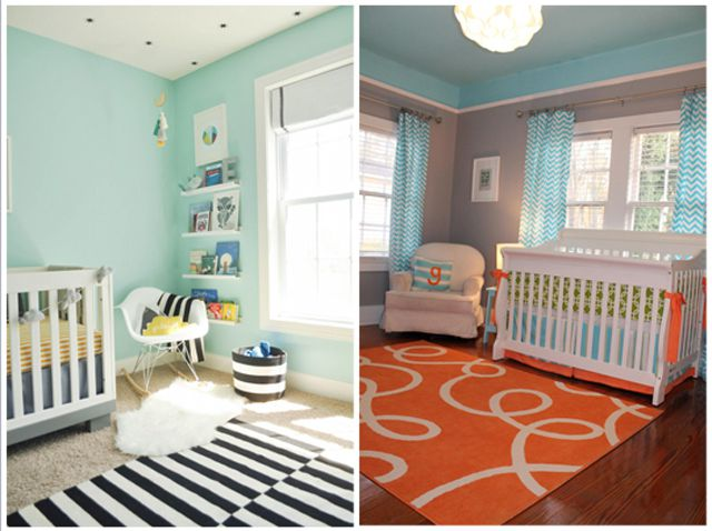 Aqua Nursery with yellow or orange accents