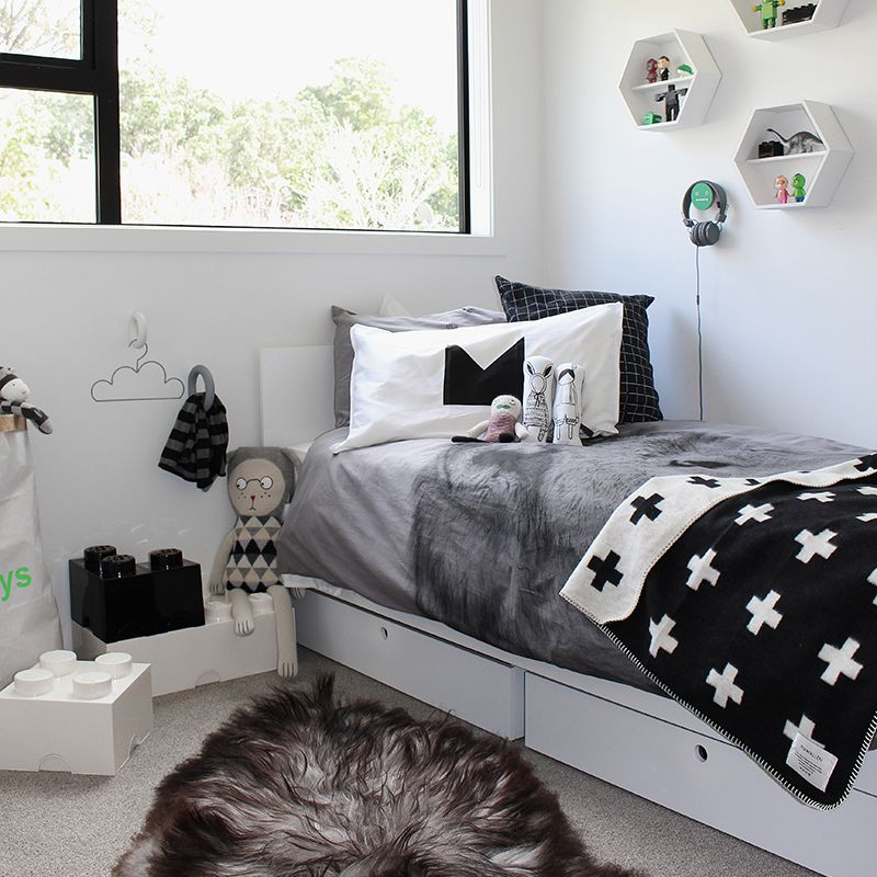 Modern, Nordic boy's room in black and white