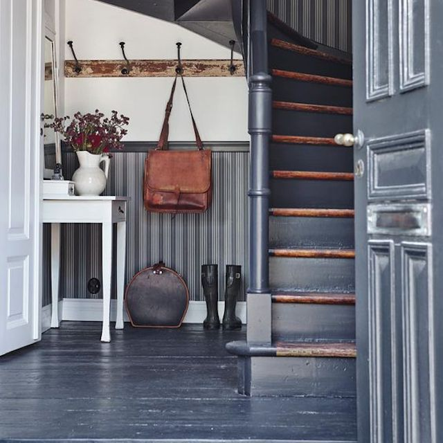 distressed gray staircase