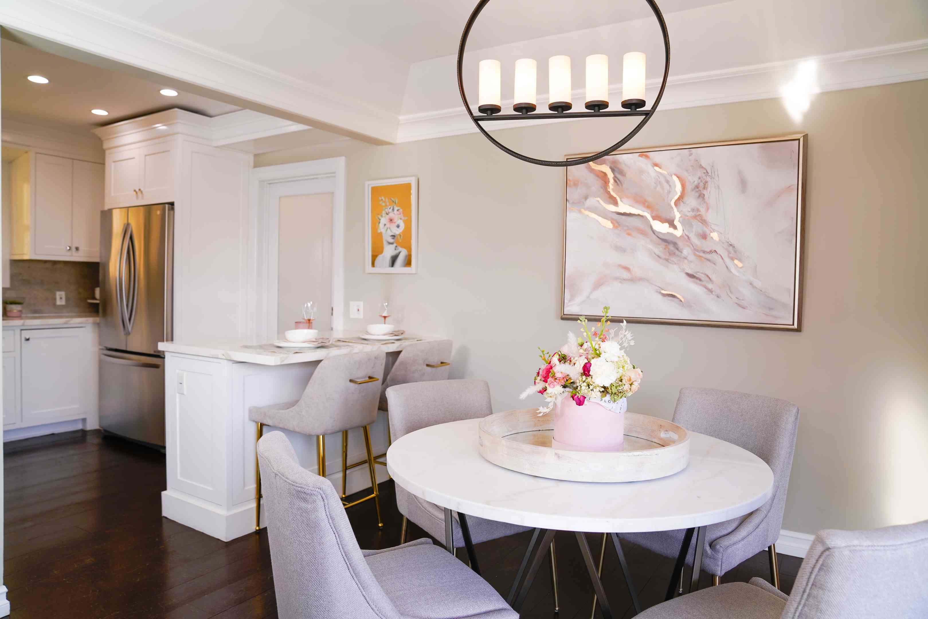 Chrishell Stause's new dining nook/kitchen bar with updates from T.J.Maxx and Marshalls