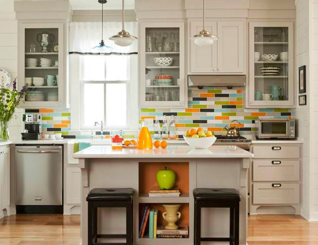 Multi Colored Gl Subway Tile Backsplash
