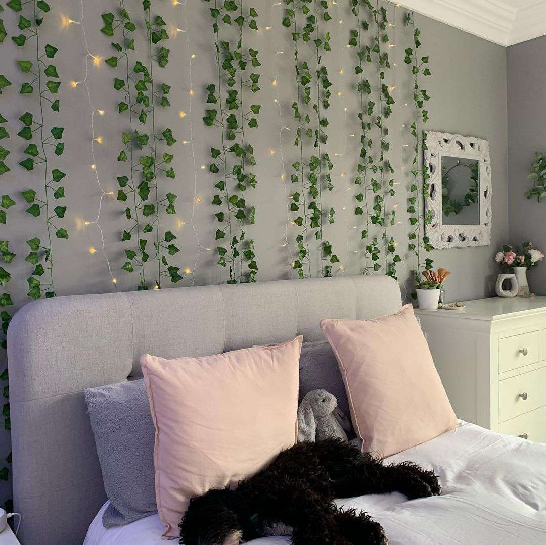 vines and string lights aesthetic room