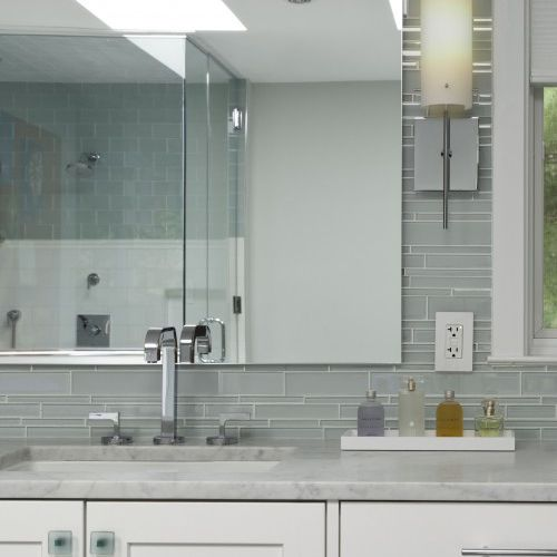 Gray, silver and white bathroom
