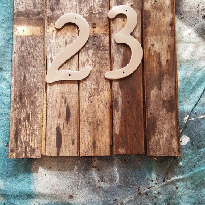 Rustic address sign.