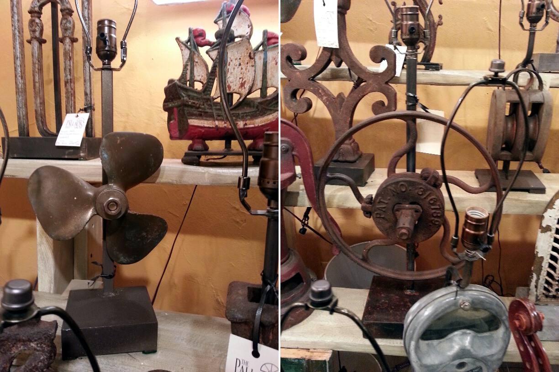 Lámparas hechas de viejas manivelas y aspas del ventilador