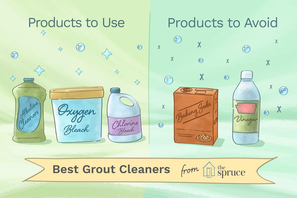 Illustration of products to use (and not use) when cleaning grout