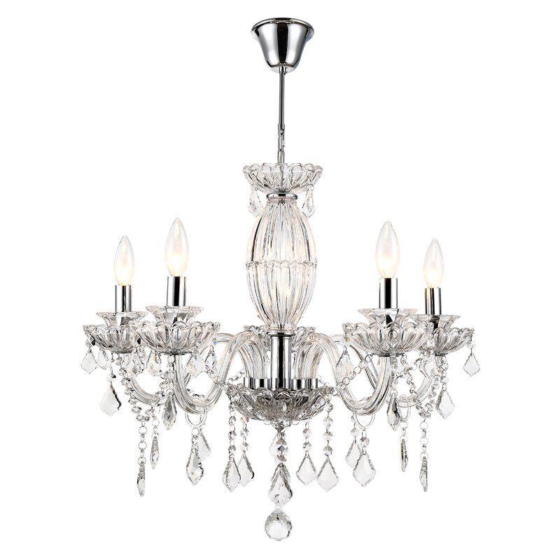 House of Hampton Chrome Louann 5-Light Candle Style Chandelier