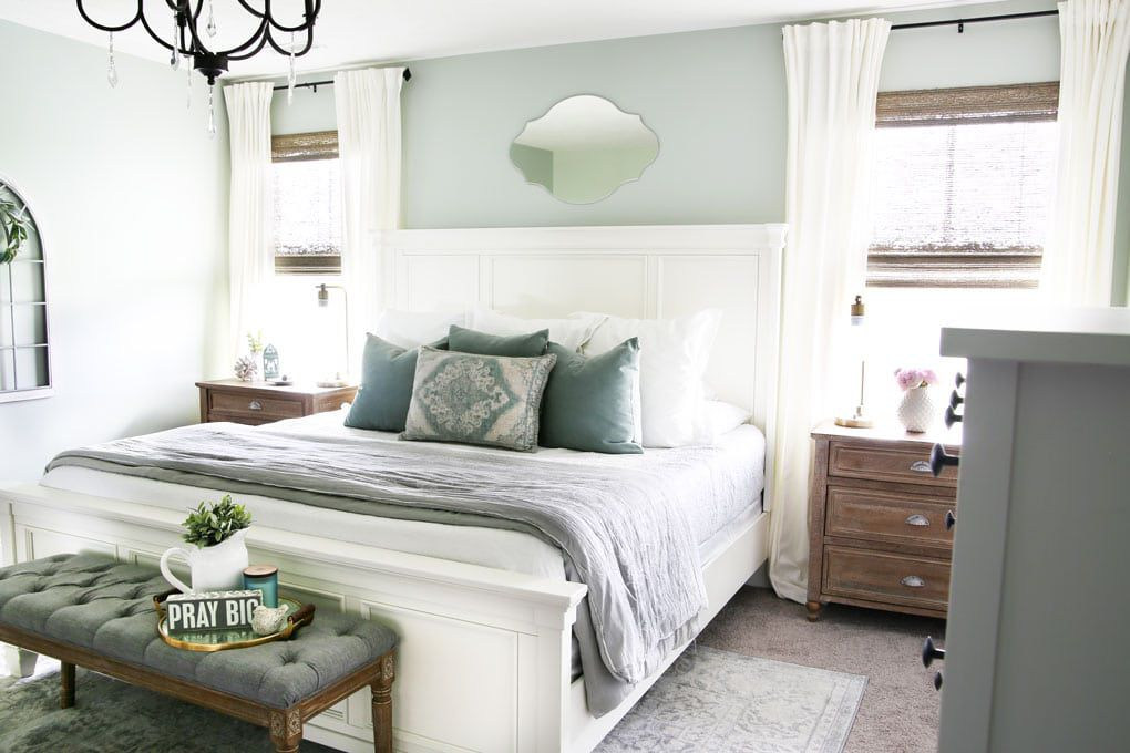 mint green and white bedroom