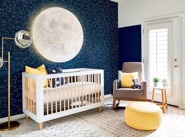 Navy and yellow space-themed nursery