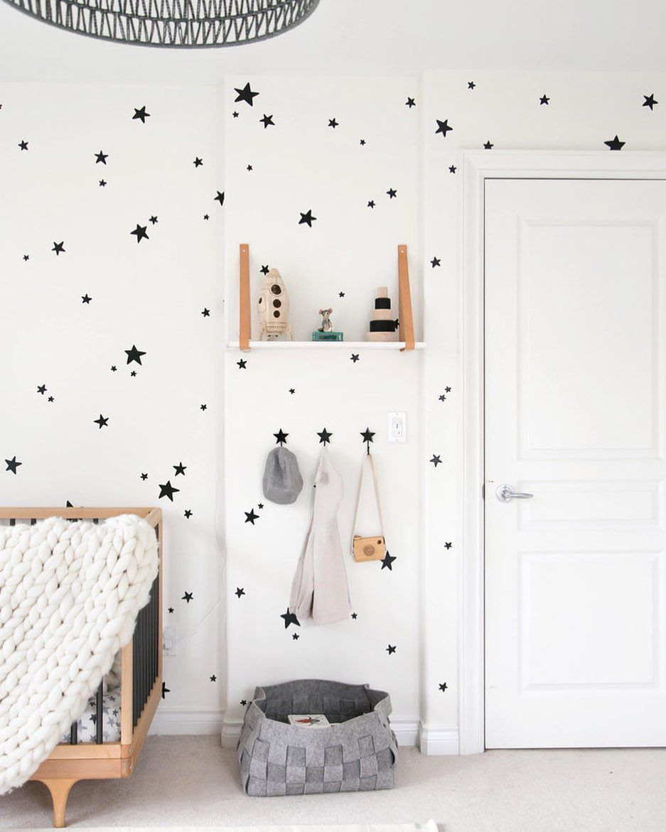 Black and white nursery with stars on the wall