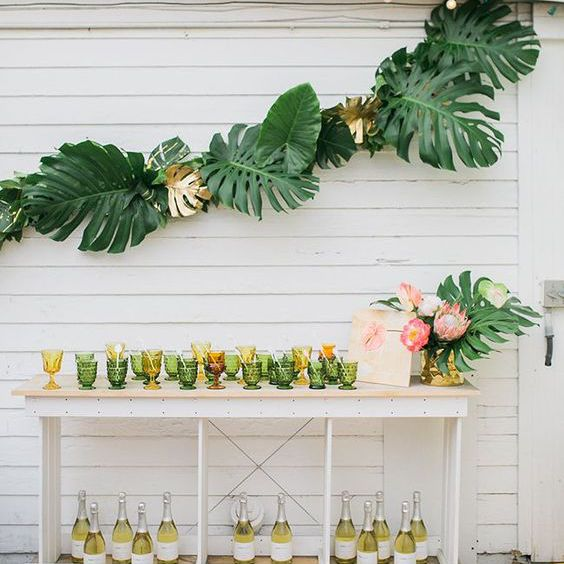 Outside party with greenery