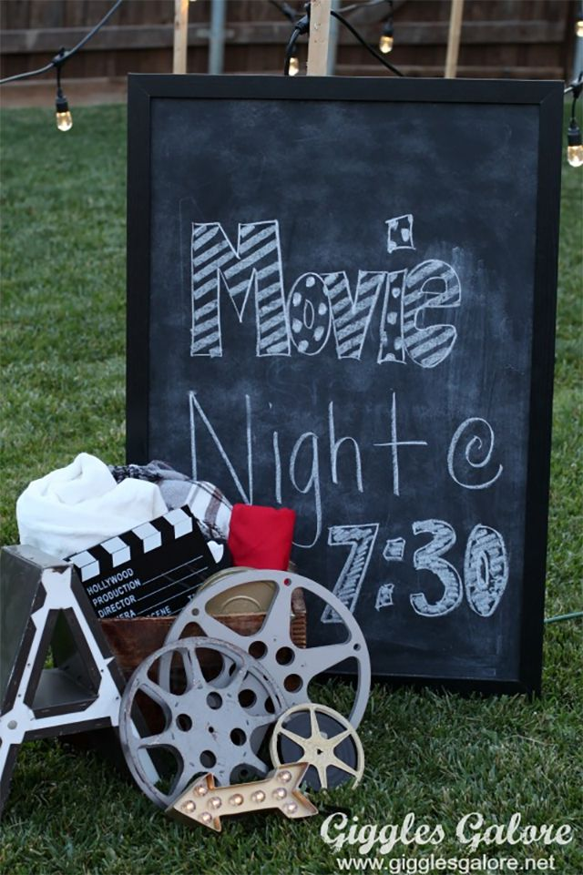A movie night sign and decorations